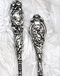 Antique Art Nouveau Sterling Repousse Buttonhook