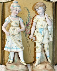Antique 19th Century German Bisque Rudolstadt Boy & Girl Figurines Large Pair