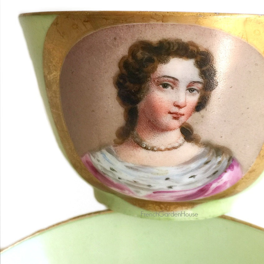 Antique French Old Paris Hand Painted Portrait Tea Cup & Saucer III