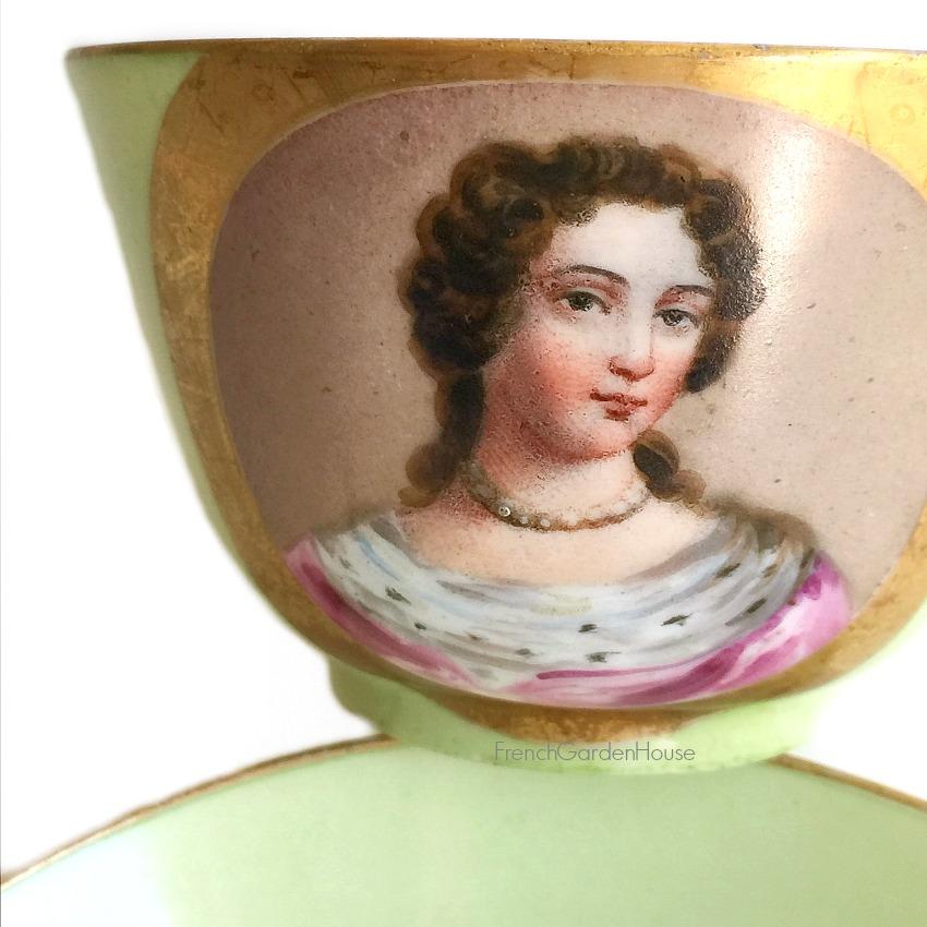 Antique 18c Vincennes Sevres Style Hand Painted Porcelain Cup III