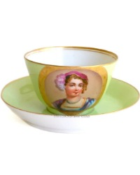 Antique French Old Paris Hand Painted Portrait Tea Cup & Saucer IV