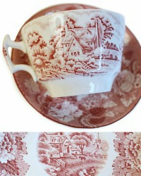 1918 Pink English Country Scene Transferware Tea Cup