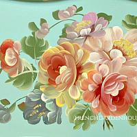 Vintage Large Hand Painted Rose Bouquet Aqua Tole Tray