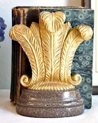 Vintage Gilt Borghese Bookends French Feathered Plumes