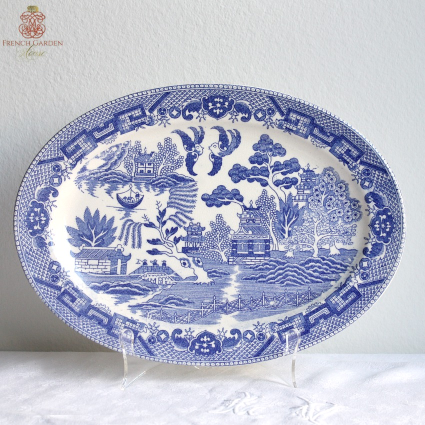 Vintage Chinoiserie Blue Willow Serving Platter