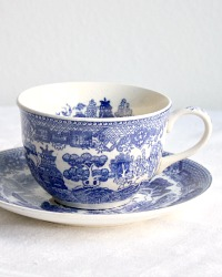 Vintage Blue Willow Chinoiserie Tea Cup and Saucer