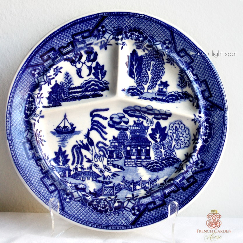 Vintage Heavy Chinoiserie Blue Willow Grill Plate