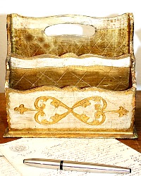 Vintage Florentine Gold and Cream Letter Holder
