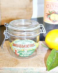 Vintage French Fruit Confiture Glass Jar