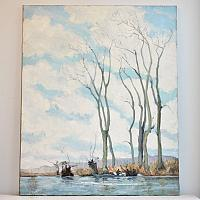 French Signed Oil Painting Trees