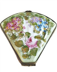 French Limoges Hand Painted Floral Miniature Fan Box
