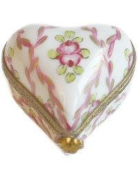Limoges Sevres Style Ribbons and Roses Miniature Porcelain Heart Box