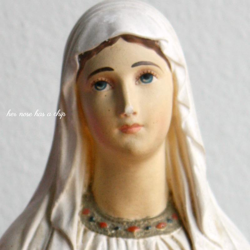 French Plaster of Paris Madonna Bust Lourdes