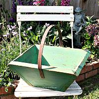 Antique French Trug Wooden Garden Basket Green Paint