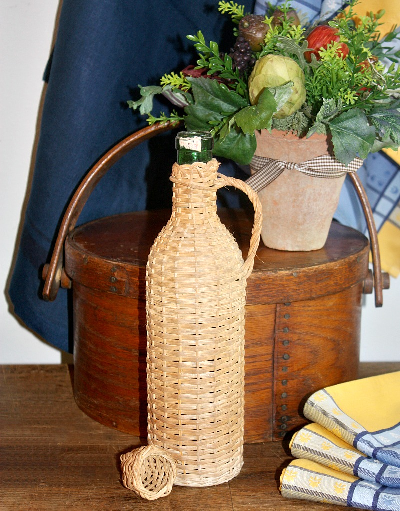 French Wicker Encased Wine Bottle