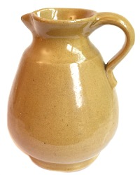 Vintage French Country Pottery Pitcher Yellow Gold
