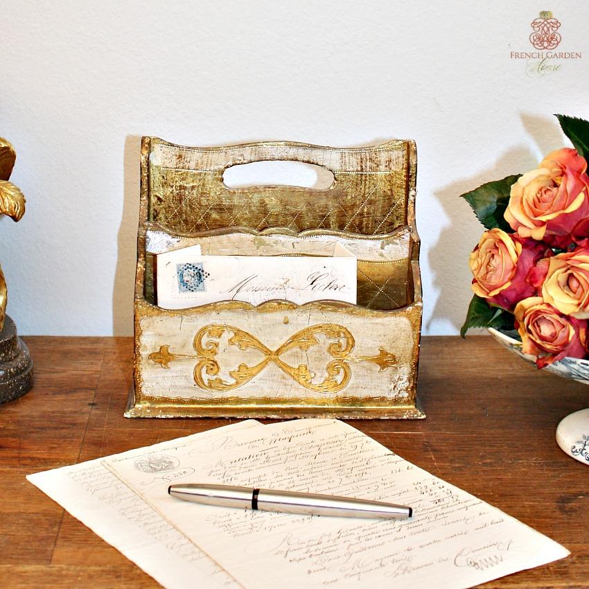 Vintage Florentine Gold and Cream Letter Holder