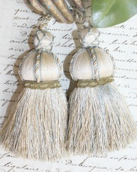 Parisian Atelier Cream, French Blue and Olive Green Tassel Pair