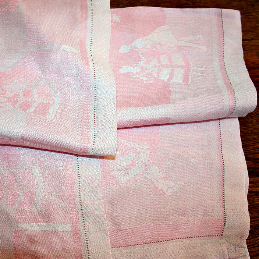 Vintage Pink Figural Damask Table Cloth