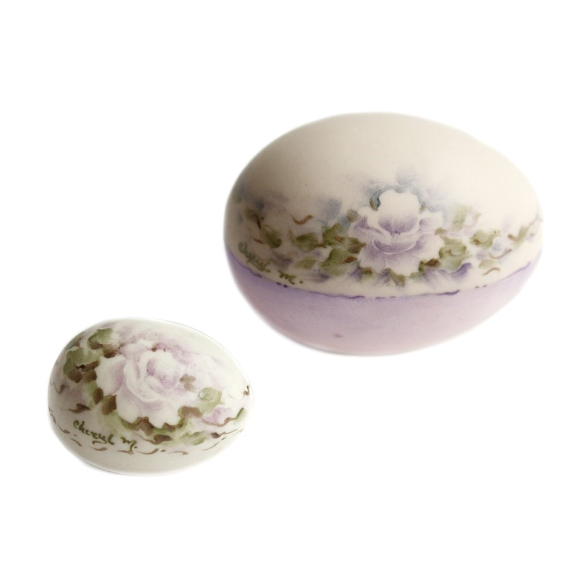 Hand Painted Miniature Porcelain Egg Lavender Rose