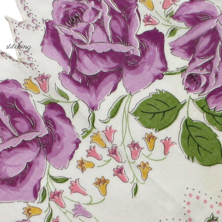 Vintage Voile Handkerchief Round Purple Roses