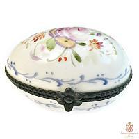 Vintage Hand Painted Limoges Pink Rose Egg Box