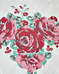 Vintage Heavy Pink Red Roses Tablecloth