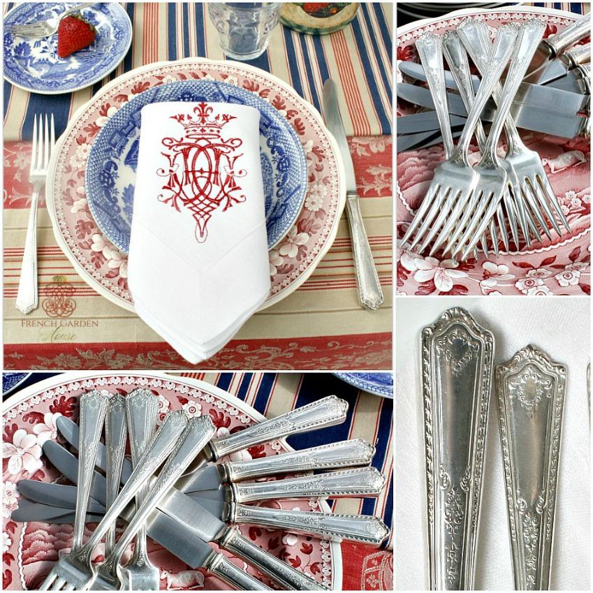 Vintage Silver Plate Flatware Set of Knives & Forks Set of 6