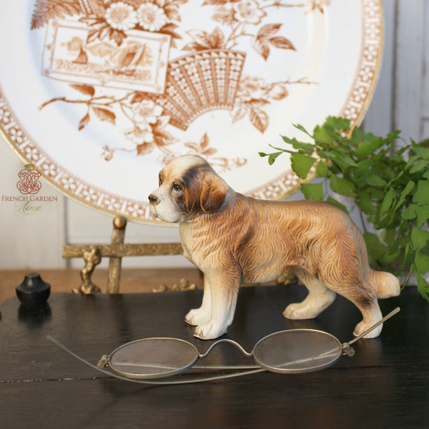 Vintage St. Bernard Dog Porcelain Figure Model