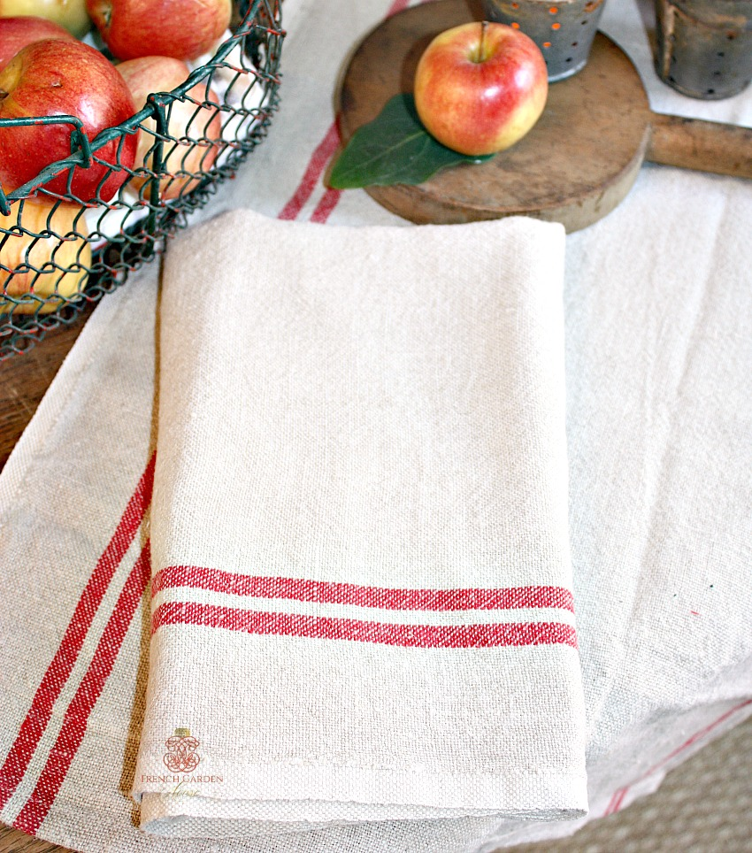French Country Vintage Style Linen Tea Towel Rouge Stripes