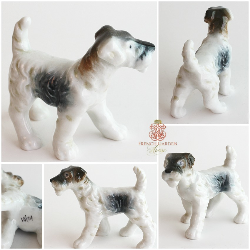 Vintage Porcelain Wire Haired Terrier Dog Figure