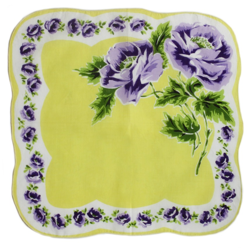 Vintage Handkerchief Yellow with Purple Flowers