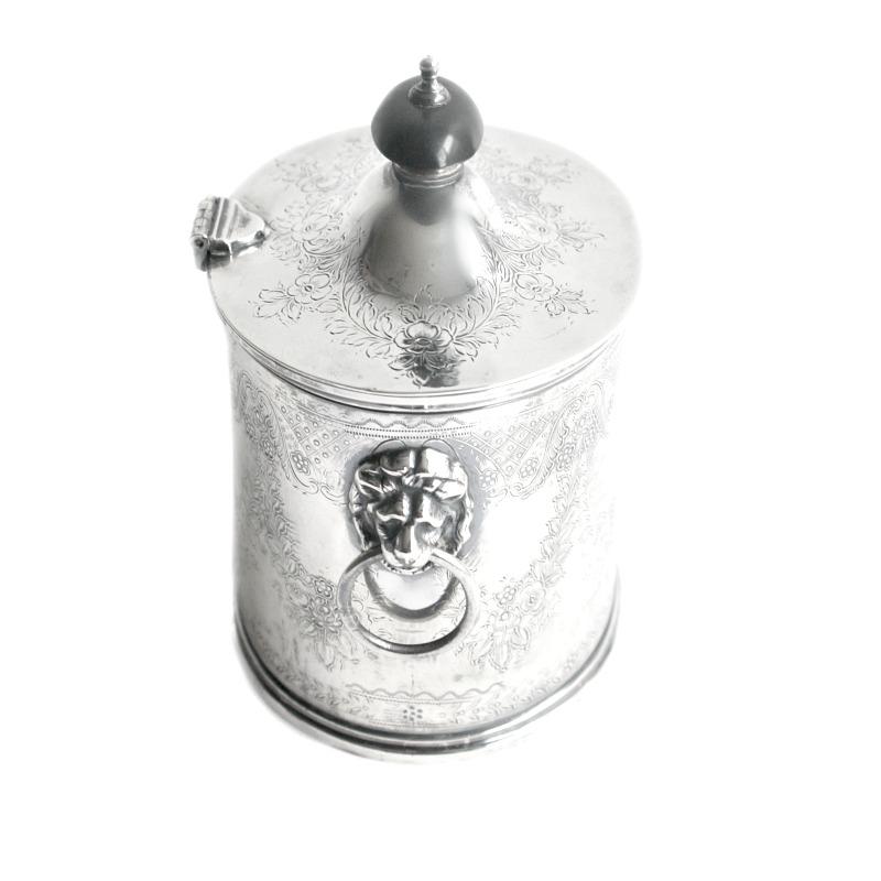 English Silver Plate Tea Caddy Lion Handles