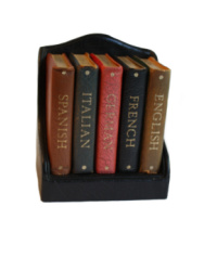 Vintage Asprey of London Miniature Leather Bound Foreign Language Reference Books