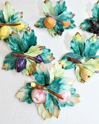 Vintage Capodimonte Hand Made Fruit Place Card Holders