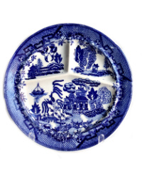 Vintage Ironstone Chinoiserie Blue Willow Divided Plate