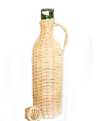 French Wicker Encased Wine Bottle