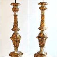 Pair Italian Vintage Hand Carved Wood Gilt Candlesticks