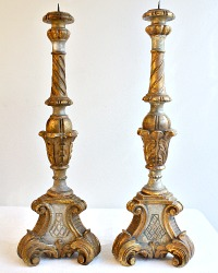 Pair Italian Vintage Hand Carved Wood Gilt Candlesticks