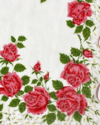 Vintage Handkerchief with Pink Roses