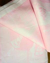 Vintage Pink Figural Damask Table Cloth