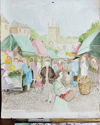 Vintage Water Color Painting Country Market Day