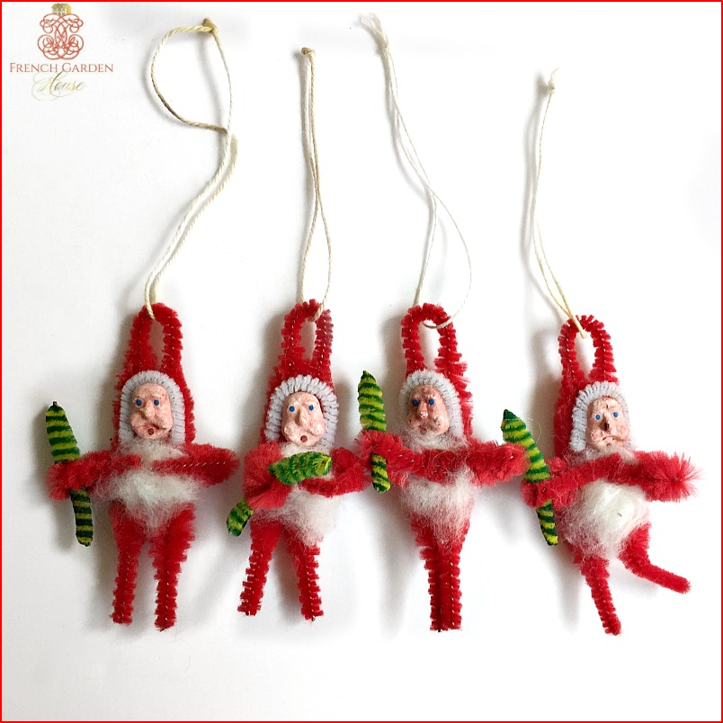 Vintage Santa Chenille Ornaments or Package Toppers Set of 4