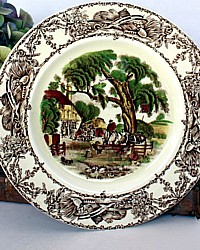 Vintage Staffordshire Polychrome Transferware Plate Rural Scenes