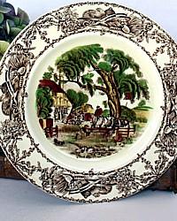 Vintage Staffordshire Polychrome Transferware Plate Rural Scenes