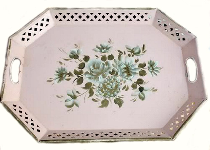Vintage Shabby Soft Pink and Gold Toleware Roses Tole Tray