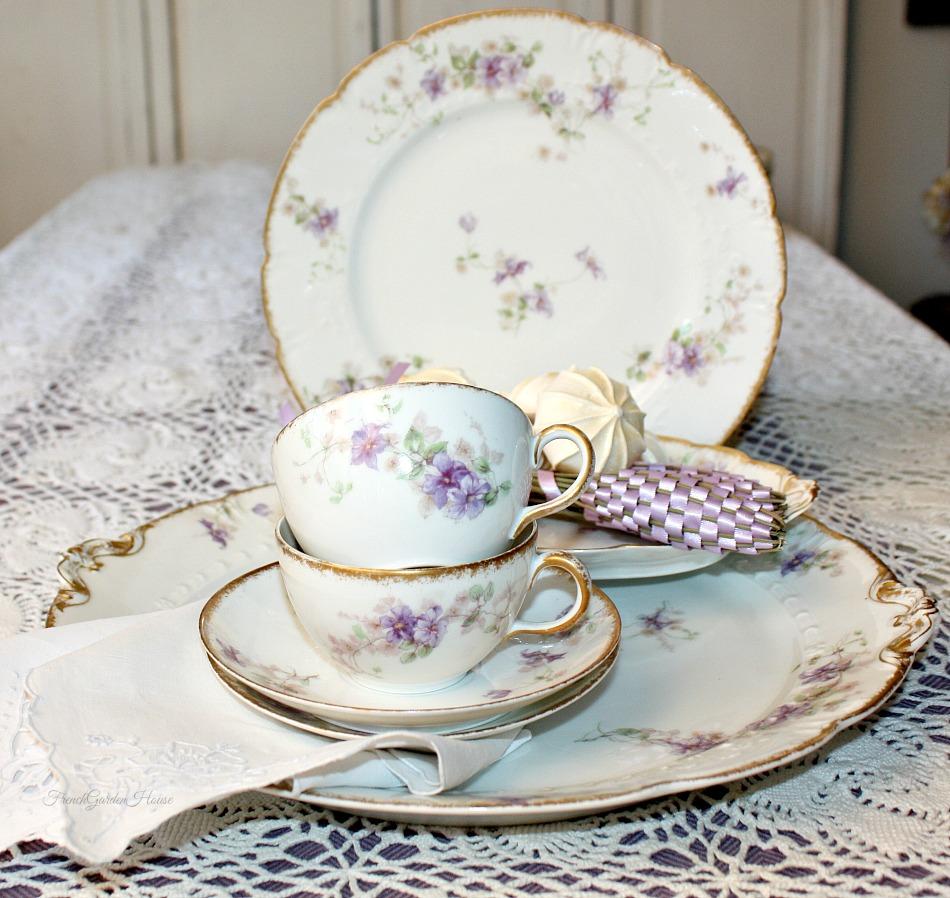 Antique French Haviland Limoges Purple Violet Floral Cup