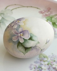 Hand Painted Porcelain Bisque Egg Violets
