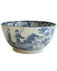 Antique Estate Blue Transferware Country Waste Bowl