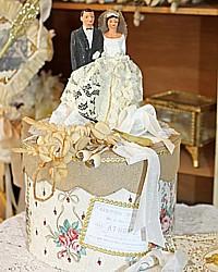 Vintage Cake Topper Wedding Keepsake Memory Cake Box Wallpaper Roses